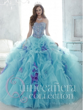 Discount Beaded and Ruffled Light Blue and Lavender Detachable Sweet 16 Dress with Brush Train
