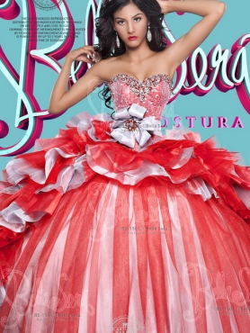 Discount Beaded Top and Handcrafted Flowers Detachable Quinceanera Dresses in Red and Silver