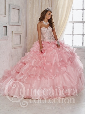 Discount Beautiful Beaded and Ruffled Layered Baby Pink Sweet Sixteen Dress with Brush Train