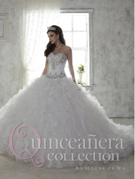 Discount Beautiful Beaded and Ruffled Organza White Quinceanera Gown with Brush Train