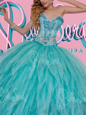 Discount Beautiful Puffy Skirt Aqua Blue Quinceanera Dress with Colorful Beading