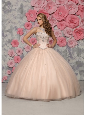 Discount Beautiful Strapless Beaded Champagne Sweet Fifteen Dress in Tulle