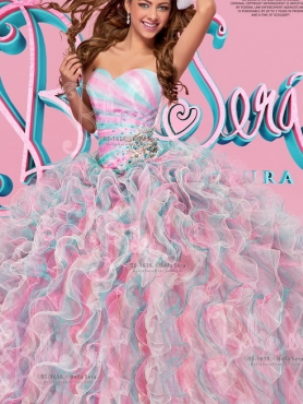 Discount Best Selling Organza Multi Color Quinceanera Gown with Beading and Ruffles