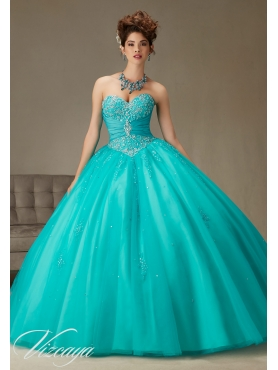 Discount Big Puffy Beaded and Applique Teal Quinceanera Gown in Tulle