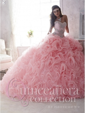Discount Cheap Rolling Flowers Brush Train Detachable Quinceanera Dress in Baby Pink