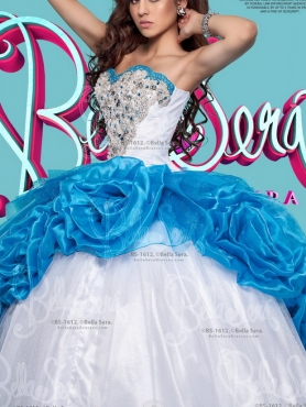 Discount Cheap White and Baby Blue Detachable Quinceanera Dress in Organza and Tulle