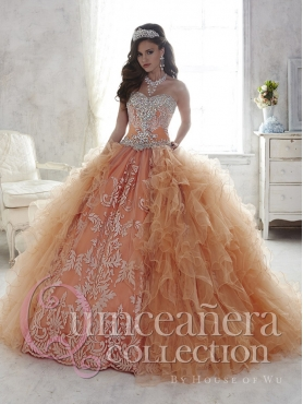 Discount Classical Applique and Ruffled Detachable Quinceanera Dress in Champagne and Rust Red