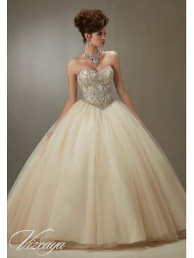 Discount Classical Beaded Bodice Champagne Sweet Fifteen Dress with Beading