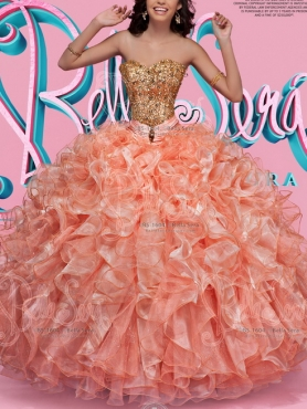 Discount Custom Made Beaded and Ruffled Orange Red Quinceanera Gown with Detachable Skirts