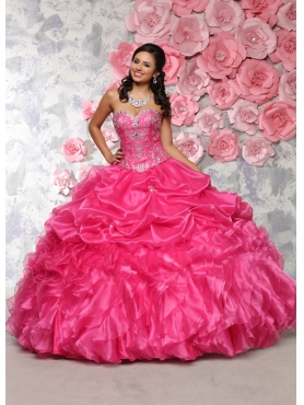 Discount Delicate Sweetheart Organza Hot Pink Dress for Quinceanera with Beading and Ruffles