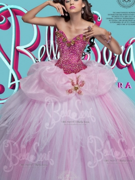 Discount Elegant Beaded Bodice and Bubble Tulle Quinceanera Dress in Baby Pink