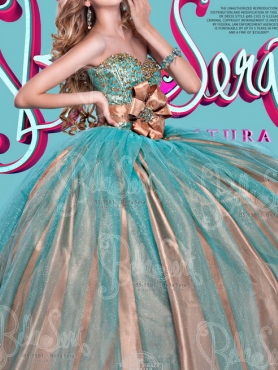 Discount Elegant Two For One Champagne and Blue Quinceanera Dresses with Beading and Ruffles