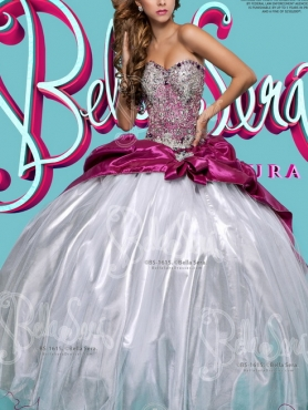 Discount Exclusive Beaded Bodice Fuchsia and White Detachable Sweet 16 Dress in Organza