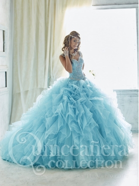 Discount Exquisite Beaded Bodice Straps Aqua Blue Quinceanera Gown in Organza with Ruffles and Brush Train