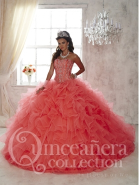 Discount Exquisite Brush Train Beaded and Ruffled Quinceanera Dress with Removable Shirts in Coral Red