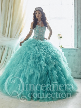 Discount Exquisite Sweetheart Tulle Mint Quinceanera Dress with Beading and Ruffles