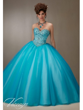 Discount Fashion Trend Beaded Bodice Teal Sweet Fifteen Dress with Sweep Train