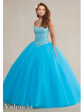 Discount Fashionable Beaded Bodice Baby Blue Sweet Fifteen Dress in Tulle