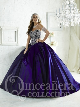 Discount Fashionable Brush Train Beaded Bodice Purple Taffeta Quinceanera Dresses