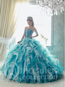 Discount Fashionable Visible Boning Beaded Detachable Quinceanera Dress in Teal and White