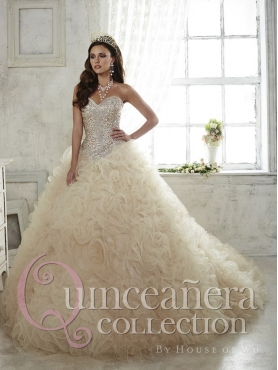 Discount Gorgeous Beaded Bodice and Ruffled Brush Train Sweet 16 Dress in Champagne