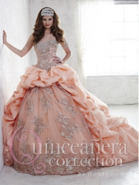 Discount Hot Sale Brush Train Peach Quinceanera Dress with Appliques and Bubbles