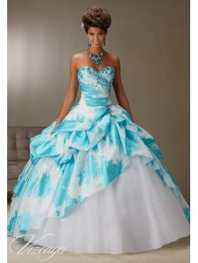 Discount Inexpensive Beaded and Bubble White and Blue Quinceanera Gown in Printed and Tulle