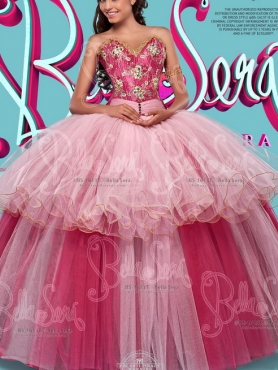 Discount Lovely Two Tone Really Puffy Detachable Quinceanera Dress with Beading and Bowknot