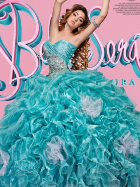 Discount Low Price Organza Beaded and Ruffled Quinceanera Dress in Aqua Blue
