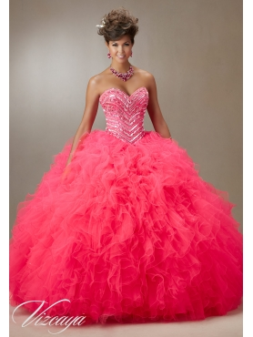 Discount Luxurious Beaded and Ruffled Coral Red Dress for Quinceanera  in Organza