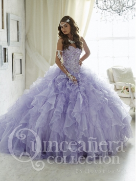 Discount Luxurious Brush Train Organza Lavender Sweet 16 Dress with Beading and Ruffles
