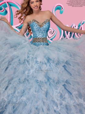 Discount Modest Really Puffy Beaded Bodice and Ruffled Quinceanera Dress in Light Blue