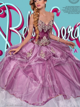 Discount Most Popular Beaded and Appliqued Purple and White Quinceanera Dresses in Organza and Tulle
