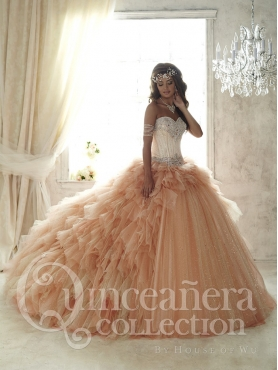 Discount Most Popular Brush Train Beaded Champagne Sweet Fifteen Dress in Tulle