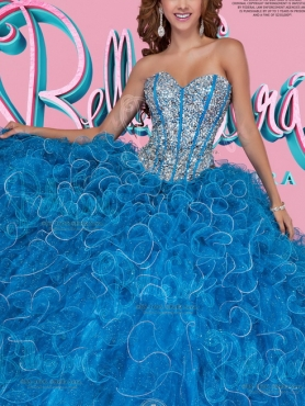 Discount Most Popular Visible Boning Beaded and Ruffled Blue Sweet Fifteen Dress in Organza