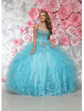 Discount New Arrival Beaded and Ruffled Aqua Blue Sweet Fifteen Dress in Organza