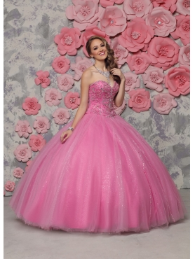 Discount New Arrival Sweetheart Tulle Rose Pink Quinceanera Dress with Beading
