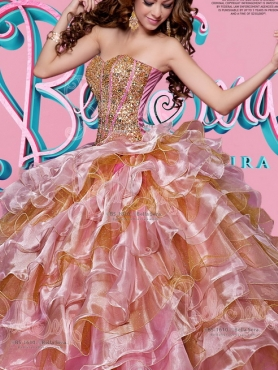 Discount New Arrival Visible Boning Beaded and Ruffled Layered Two Tone Quinceanera Gown in Organza