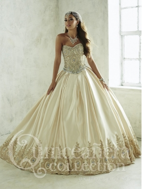 Discount New Style Beaded and Applique Champagne Quinceanera Dress with Detachable Skirt in Taffeta
