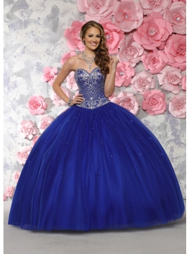 Discount New Style Beaded Bodice Tulle Sweet Fifteen Dress in Royal Blue