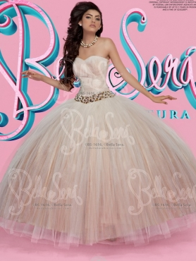 Discount Pretty Big Puffy Belted with Beading Tulle Quinceanera Gown in Champagne