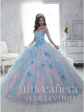 Discount Pretty Organza Baby Pink and Blue Quinceanera Dress with Beading and Ruffles