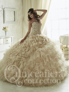Discount Puffy Skirts Sweep Train Beaded and Ruffled Sweet Fifteen Dress in Champagne