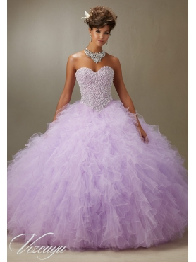 Discount Recommended Beaded and Ruffled Lavender Quinceanera Dress in Organza