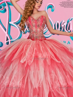 Discount Visible Boning Applique and Beaded Quinceanera Dress in Coral Red and White