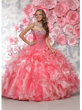 Discount Visible Boning Beaded and Applique Two Tone Quinceanera Dress in Organza
