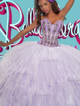Discount Visible Boning Lavender and White Detachable Sweet 16 Dress with Appliques and Beading