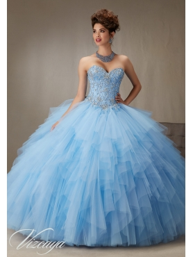 Discount Wonderful Applique and Ruffled Light Blue Sweet 16 Dress in Tulle