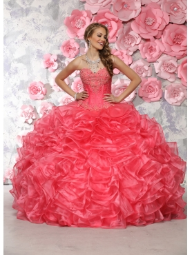 Discount Wonderful Beaded and Ruffled Coral Red Quinceanera Dress in Organza
