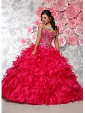 Discount Wonderful Beaded and Ruffled Red Dress for Quinceanera in Organza